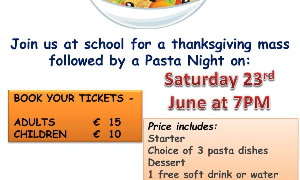 Thanksgiving Mass and Pasta Night